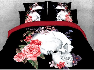 Skull and Pink Peonies Digital Printing 4-Piece 3D Bedding Sets/Duvet Covers