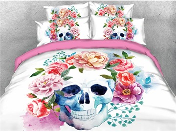 Colorful Flowers and Skull Digital Printing 4-Piece 3D Bedding Sets/Duvet Covers