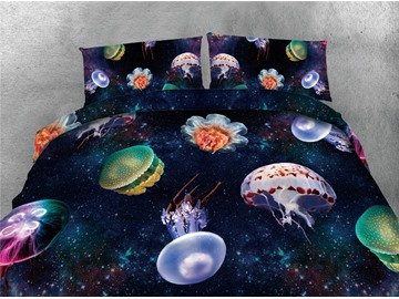 Jellyfish and Galaxy Printing Cotton 4-Piece 3D Bedding Sets/Duvet Covers