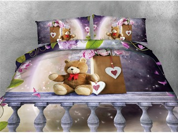 Teddy Bear and Pink Roses Printing Cotton 4-Piece 3D Bedding Sets/Duvet Covers