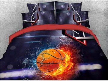 Basketball Fire and Water Printing Cotton 3D 4-Piece Bedding Sets/Duvet Covers
