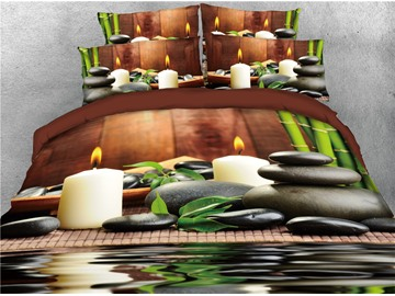Candle Cobblestone and Bamboo Printed 4-Piece 3D Bedding Sets/Duvet Covers