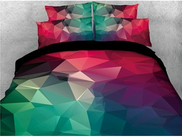 Multi Color Abstract Geometric Printed 4-Piece 3D Bedding Sets/Duvet Covers