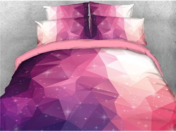 Unique Geometric Pattern Red Printed 3D 4-Piece Bedding Sets/Duvet Covers