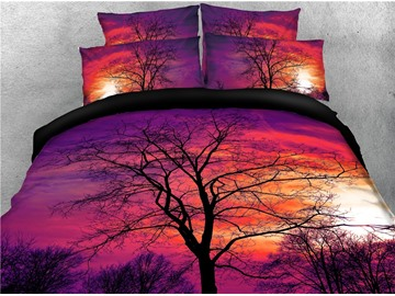 Tree Shadow and Purple Printed 4-Piece 3D Bedding Sets/Duvet Covers