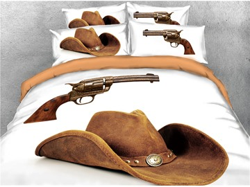 Cowboy Hat and Gun Printed 3D 4-Piece Bedding Sets/Duvet Covers
