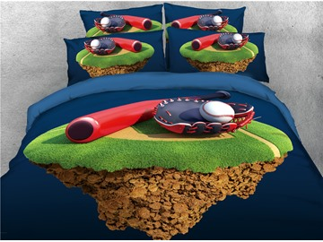 Baseball Gloves and Stadium Printed 4-Piece 3D Bedding Sets/Duvet Covers