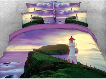 Lighthouse and Green Hill Purple Printed 3D 4-Piece Bedding Sets/Duvet Covers