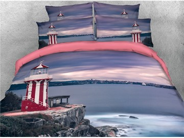 Lighthouse and Coastal Landscape Printed 3D 4-Piece Bedding Sets/Duvet Covers