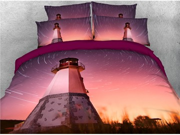 Lighthouse and Pink Spiral Sky Printed 3D 4-Piece Bedding Sets/Duvet Covers
