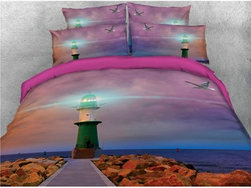Lighthouse was Flashing and Ocean Printed 3D 4-Piece Bedding Sets/Duvet Covers