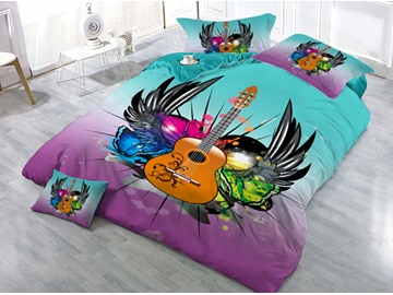 Guitar with Wings Printed 4-Piece 3D Bedding Sets/Duvet Covers