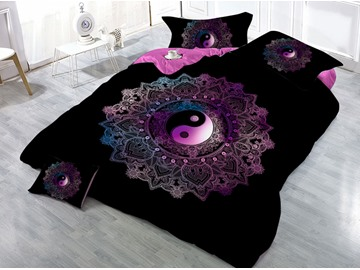 Taiji Yin Yang Printed Black 3D 4-Piece Bedding Sets/Duvet Covers