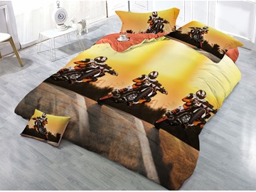 Motor Racing Driver Printed 4-Piece 3D Bedding Sets/Duvet Covers