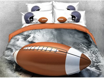 Rugby and Helmet Printed 3D Sports 4-Piece 3D Bedding Sets/Duvet Covers