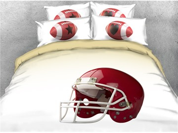 Red Rugby Helmet Printed 3D Sports 4-Piece 3D Bedding Sets/Duvet Covers
