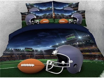 Rugby Playing Field and Helmet Printed 4-Piece 3D Bedding Sets/Duvet Covers