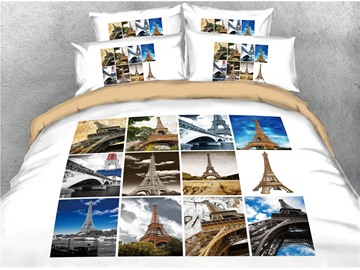 Different Perspectives of the Eiffel Tower Printed 4-Piece 3D Bedding Sets/Duvet Covers