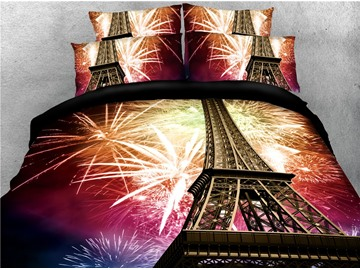 Eiffel Tower and Fireworks Printed 4-Piece 3D Bedding Sets/Duvet Covers