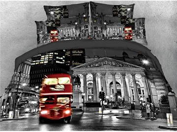 Red Bus and City Night Scene Printed 4-Piece 3D Bedding Sets/Duvet Covers