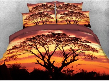 Tree Shadow Sunset Printed 4-Piece 3D Bedding Sets/Duvet Covers