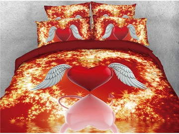 Red and Pink Heart Shining Stars Printed 4-Piece 3D Bedding Sets/Duvet Covers