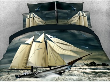 Stormy Weather Waves Pirate Ship Sailing Printed 4-Piece 3D Bedding Sets/Duvet Covers