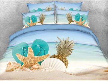 Pineapple and Starfish & Shoes Printed Beach 4-Piece 3D Bedding Sets/Duvet Covers