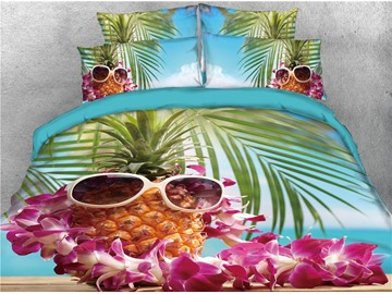 Pineapple Wearing Sunglasses Printed 4-Piece 3D Bedding Sets/Duvet Covers