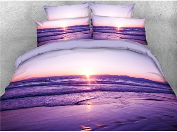 Beach Seaside Scene Purple Printed 4-Piece 3D Bedding Sets/Duvet Covers