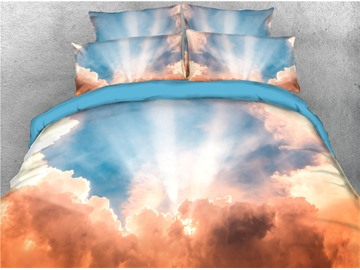 Cloud Sky Printed 4-Piece 3D Bedding Sets/Duvet Covers
