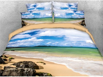 Beach Seaside and Sea Blue Sky Printed 4-Piece 3D Bedding Sets/Duvet Covers