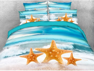 Three Starfish on The Beach 3D Printed 4-Piece Polyester Bedding Sets/Duvet Covers