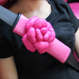 Lovely Pink 3D Camellia Car Seat Belt Cover