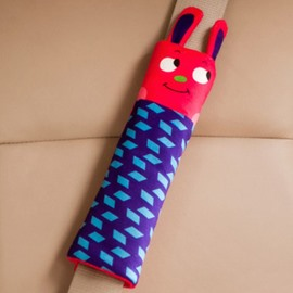 Lovely Red Head Rabbit Blue Rectangle Pattern Seat Belt Cover