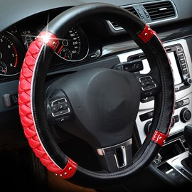 Fashion Shining Tangerine Pattern Combination Of Black And Red Steering Wheel Cover