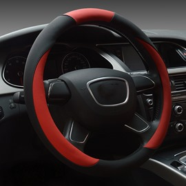 Stylish Curved Black and Red Universal Steering Wheel Cover