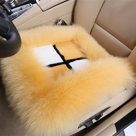 Bright Plush Material Fluffy Cross Color Block Wool Cat Seat Mat Set