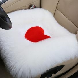 New Arrival Fluffy Heart Shaped Wool Seat Mat Set