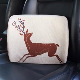 Creative Abstract Reindeer Patterned Linen Car Pillow