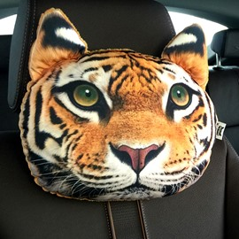 Cute Personalized Tiger Face Creative Car Seat Pillows