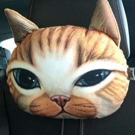 Creative Personalized Sleepy Kitten Face Car Seat Pillows