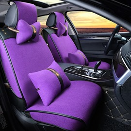 Concise and Classic Durable Linen Pure Colored Universal Fit Car Seat Cover