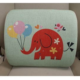 Concise And Funny Linen Material Cheerful Elephant Lumbar Support Car Pillow