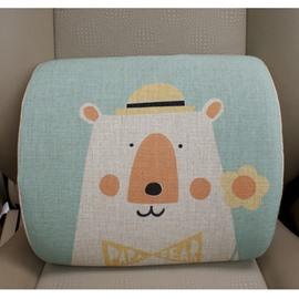 Concise And Creative Linen Material Floral Bear Lumbar Support Car Pillow