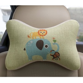 Concise And Styling Linen Material Lion Elephant Car Neckrest Pillow