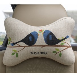 Concise And Creative Linen Material Singing Birds Car Neckrest Pillow