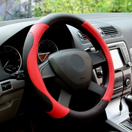 Black And Red Color Classic Match Durable PU Leatherette Material Medium Steering Wheel Covers