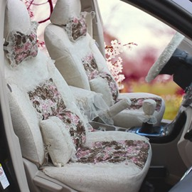New White Lace Style With Beautiful Flower Pattern Car Seat Cover