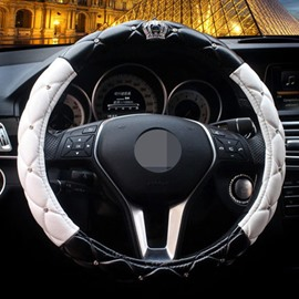 Black White Mixing With Luxurious Crown Steering Wheel Cover